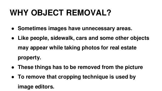 Object removal in Photo editing Slide 3