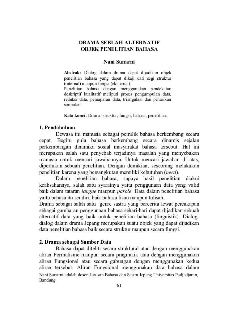 DRAMA SEBUAH ALTERNATIF                     OBJEK PENELITIAN BAHASA                                 Nani Sunarni          ...