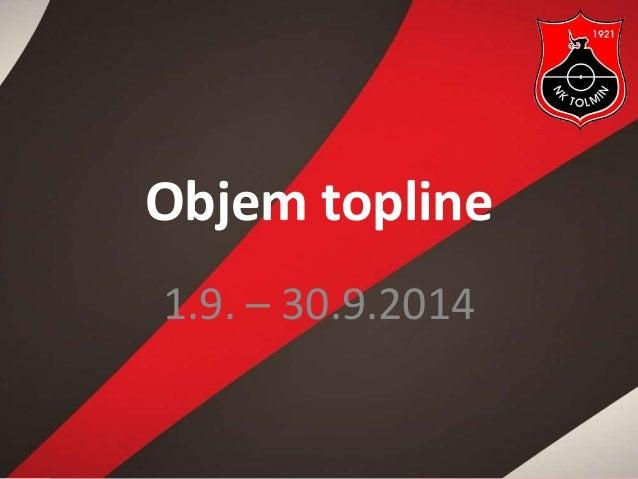 Objem topline  1.9. – 30.9.2014
