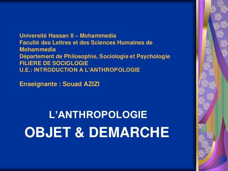 Université Hassan II – MohammediaFaculté des Lettres et des Sciences Humaines deMohammediaDépartement de Philosophie, Soci...