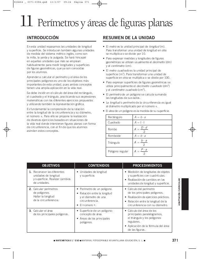 371 MATEMÁTICAS 1.° ESO  MATERIAL FOTOCOPIABLE © SANTILLANA EDUCACIÓN, S. L.  Perímetros y áreas de figuras planas11 IN...