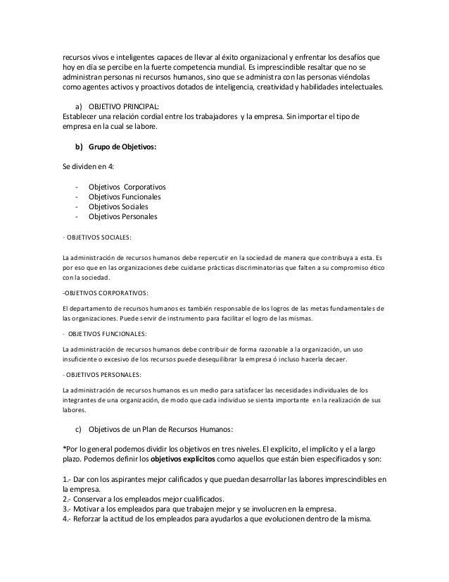 Objetivo de los recursos  humanos Slide 2