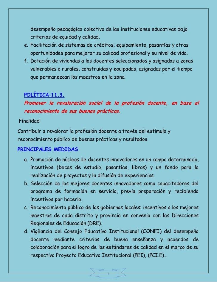 desempeño pedagógico colectivo de las instituciones educativas bajo     criterios de equidad y calidad.  e. Facilitación d...