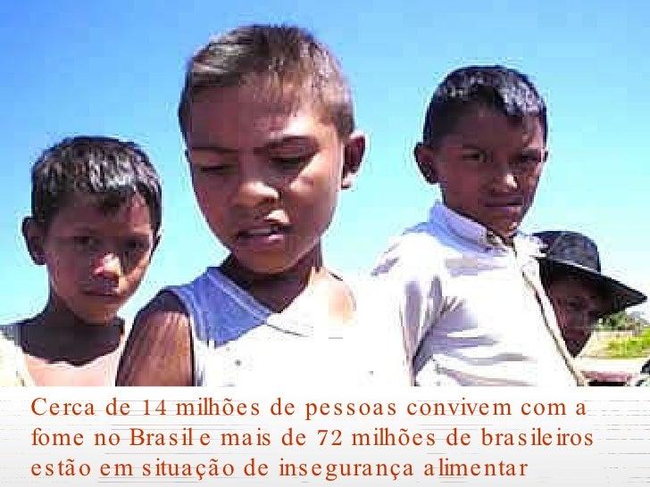 <ul><li>Cerca de 14 milhões de pessoas convivem com a fome no Brasil e mais de 72 milhões de brasileiros estão em situação...