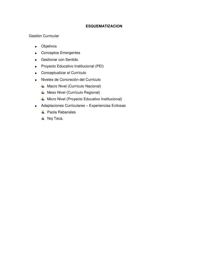 ESQUEMATIZACION<br />Gestión Curricular<br />Objetivos<br />Conceptos Emergentes<br />Gestionar con Sentido<br />Proyecto ...