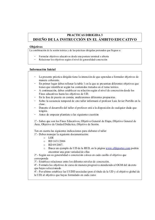 PRACTICAS DIRIGIDA 3   DISEÑO DE LA INSTRUCCIÓN EN EL ÁMBITO EDUCATIVOObjetivosLa combinación de la sesión teórica y de la...