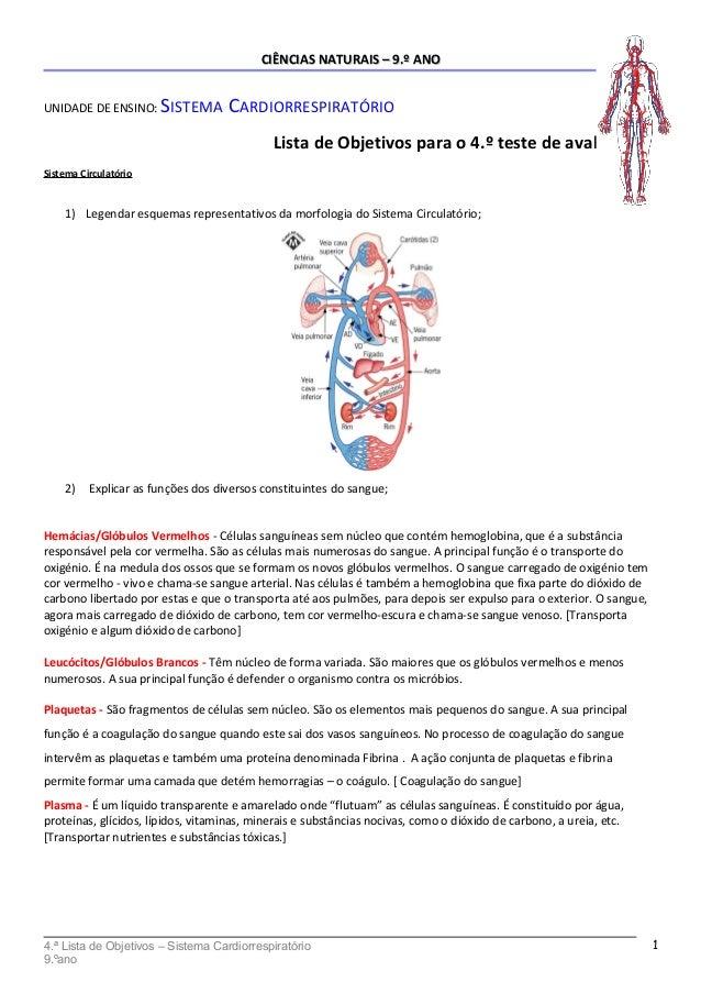 CIÊNCIAS NATURAIS – 9.º ANOCIÊNCIAS NATURAIS – 9.º ANO UNIDADE DE ENSINO: SISTEMA CARDIORRESPIRATÓRIO Lista de Objetivos p...