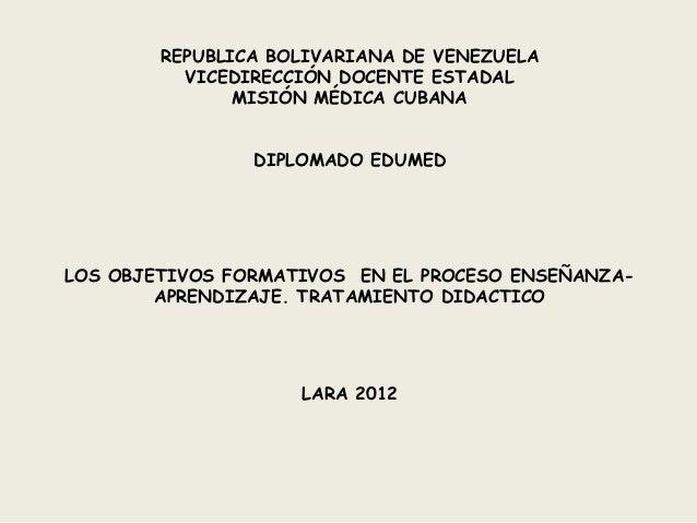 REPUBLICA BOLIVARIANA DE VENEZUELA          VICEDIRECCIÓN DOCENTE ESTADAL               MISIÓN MÉDICA CUBANA              ...