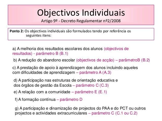 Objectivos Individuais Artigo 9º - Decreto Regulamentar nº2/2008 Ponto 2: Os objectivos individuais são formulados tendo p...