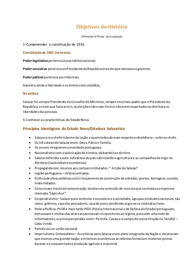 Objetivos de História 2ºPeríodo-4ºTeste de Avaliação 1-Compreender a constituição de 1933. Constituiçãode 1933 (na teoria)...