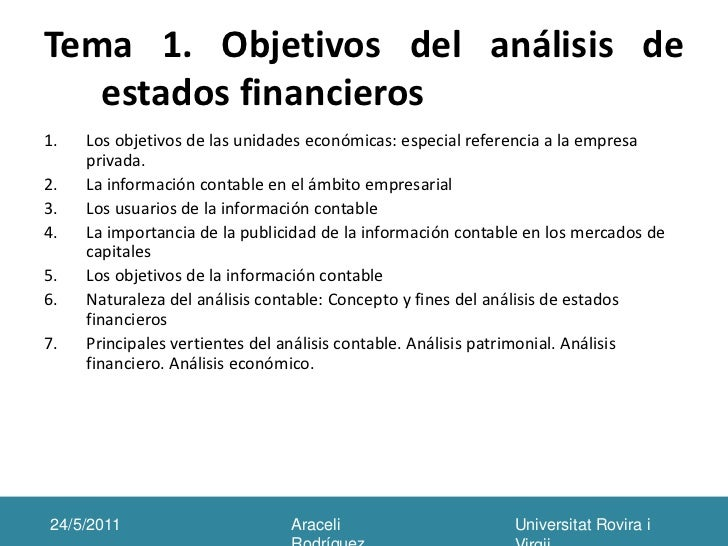 Objetivos del analisis de estados financieros