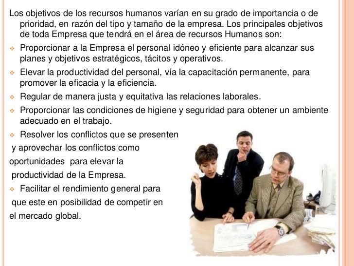 Objetivos  del  área  de recursos humanos1 10 Slide 3