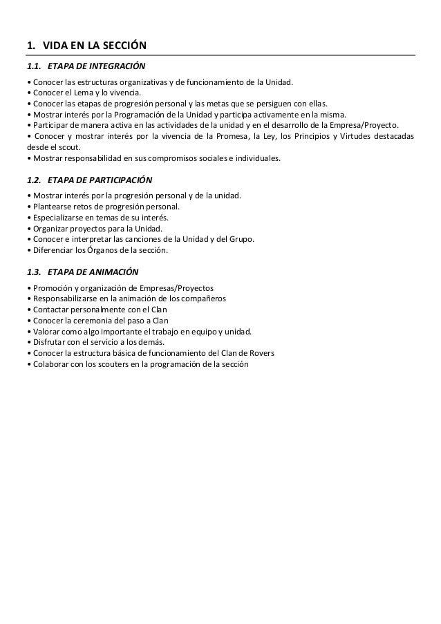 1. VIDA EN LA SECCIÓN 1.1. ETAPA DE INTEGRACIÓN • Conocer las estructuras organizativas y de funcionamiento de la Unidad. ...