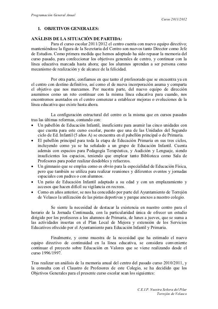 Programación General Anual                                                                           Curso 2011/2012   1. ...