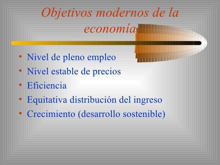 Objetivos modernos de la economía <ul><li>Nivel de pleno empleo </li></ul><ul><li>Nivel estable de precios </li></ul><ul><...
