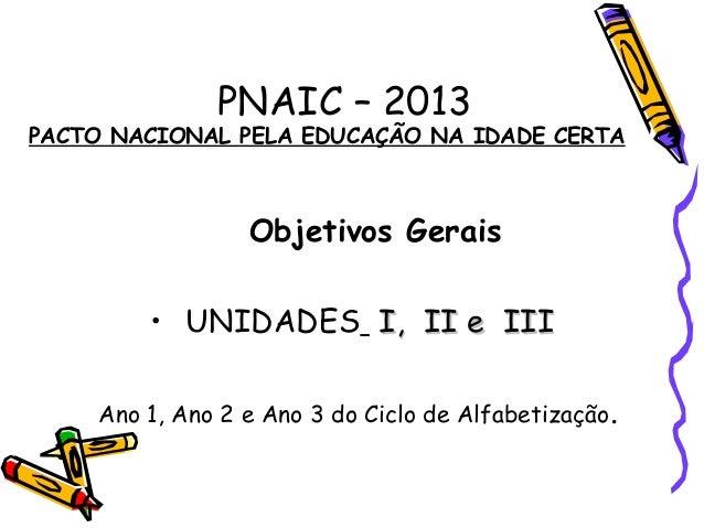 PNAIC – 2013PACTO NACIONAL PELA EDUCAÇÃO NA IDADE CERTAObjetivos Gerais• UNIDADES I, II e IIII, II e IIIAno 1, Ano 2 e Ano...