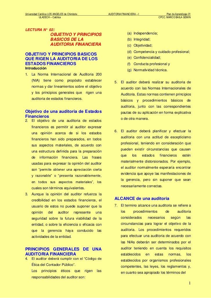 Universidad Católica LOS ANGELES de Chimbote                   AUDITORIA FINANCIERA – I                      Plan de Apren...