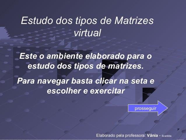 Estudo dos tipos de Matrizes virtual Este o ambiente elaborado para o estudo dos tipos de matrizes. Para navegar basta cli...