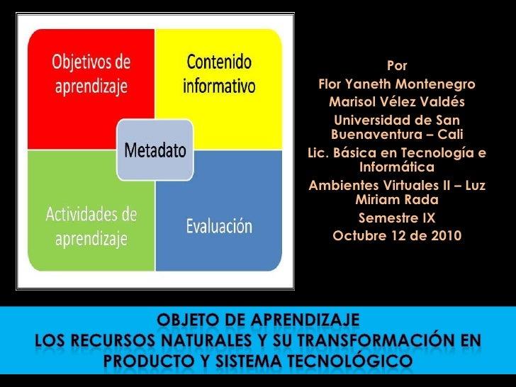 Por   Flor Yaneth Montenegro     Marisol Vélez Valdés      Universidad de San     Buenaventura – Cali Lic. Básica en Tecno...