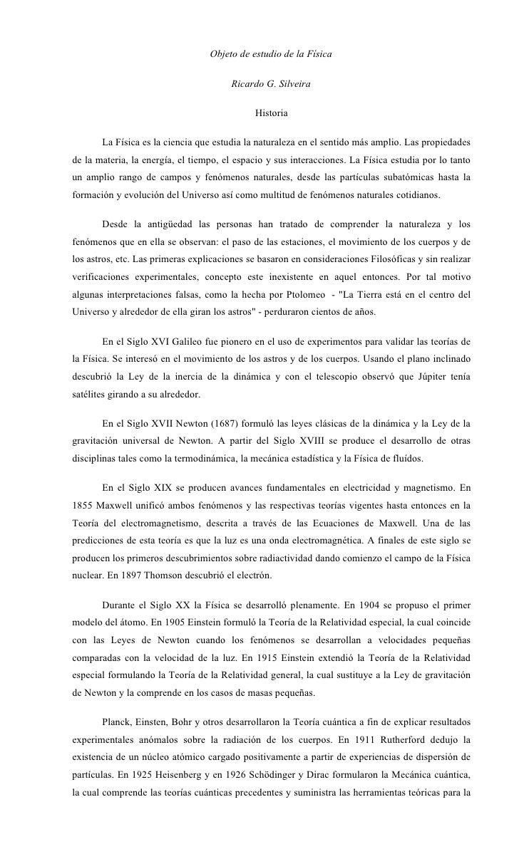 Objeto de estudio de la Física                                           Ricardo G. Silveira                              ...