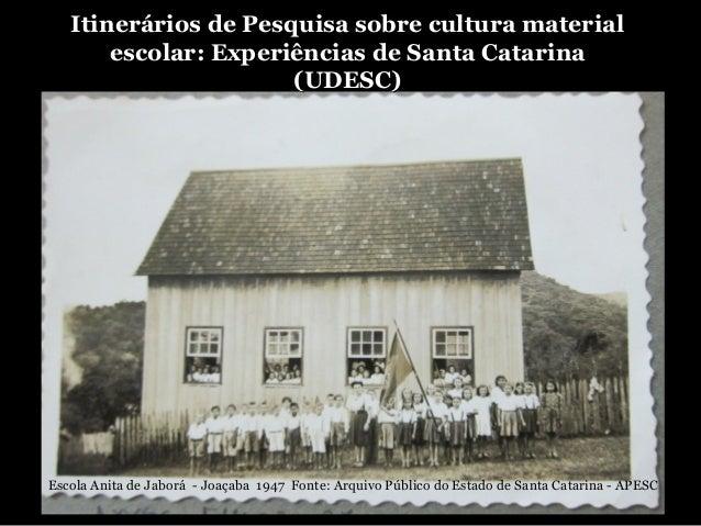 Itinerários de Pesquisa sobre cultura materialItinerários de Pesquisa sobre cultura materialescolar: Experiências de Santa...