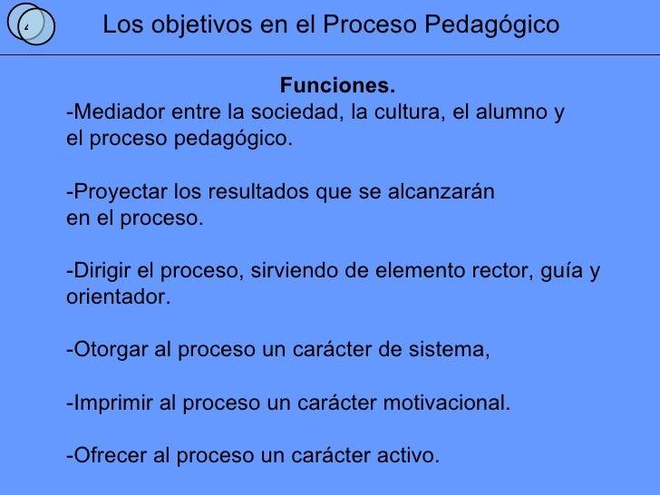Los objetivos en el Proceso Pedagógico Funciones. -Mediador entre la sociedad, la cultura, el alumno y el proceso pedagógi...