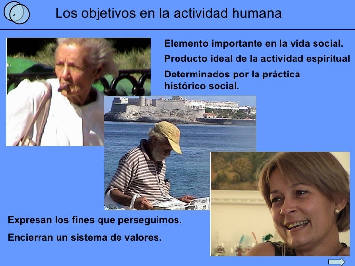 Los objetivos en la actividad humana 4 Elemento importante en la vida social. Producto ideal de la actividad espiritual De...