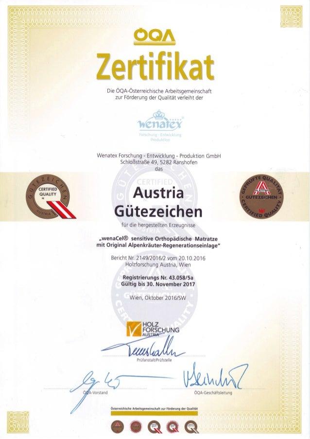 Austria Gütezeichen für Wenatex Das Schlafsystem