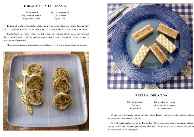 OBLANDE SA JABUKAMA 3 lista oblande 3S0 g izrendanih jabuka 200 g seckanih oraha  100 g  suvoggrožđa  350 g šećera šoljica...