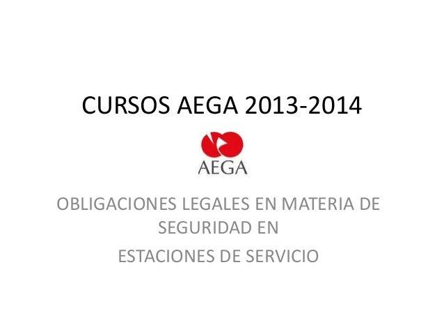 CURSOS AEGA 2013-2014  OBLIGACIONES LEGALES EN MATERIA DE SEGURIDAD EN ESTACIONES DE SERVICIO
