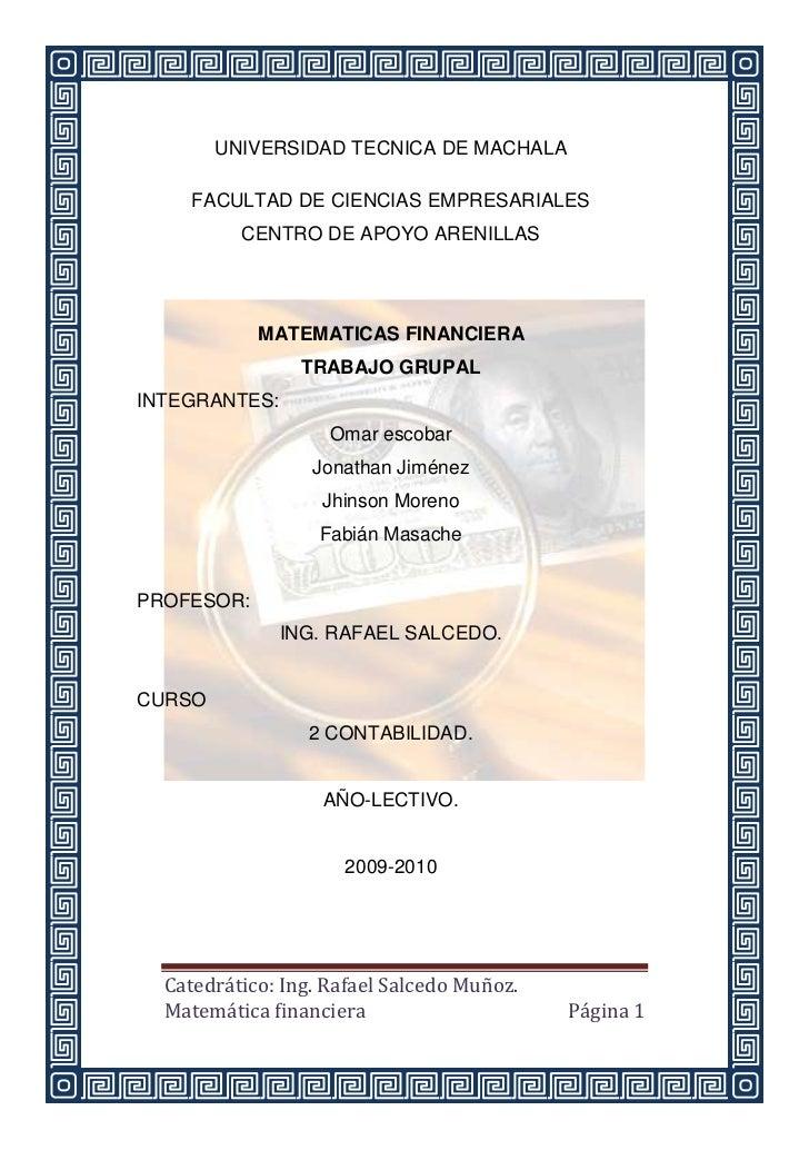 UNIVERSIDAD TECNICA DE MACHALA     FACULTAD DE CIENCIAS EMPRESARIALES          CENTRO DE APOYO ARENILLAS            MATEMA...