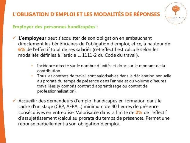L Obligation D Emploi Des Travailleurs Handicapes