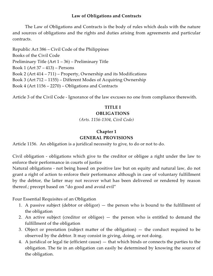 law on obligations and contracts study guide answers