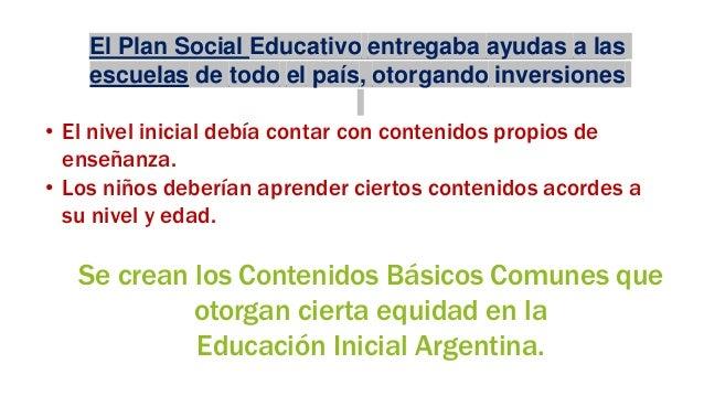 El Plan Social Educativo entregaba ayudas a las escuelas de todo el país, otorgando inversiones • El nivel inicial debía c...