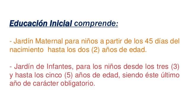 Educación Inicial comprende: - Jardín Maternal para niños a partir de los 45 días del nacimiento hasta los dos (2) años de...