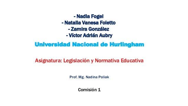 - Nadia Fogel - Natalia Vanesa Foletto - Zamira González - Víctor Adrián Aubry Universidad Nacional de Hurlingham Asignatu...