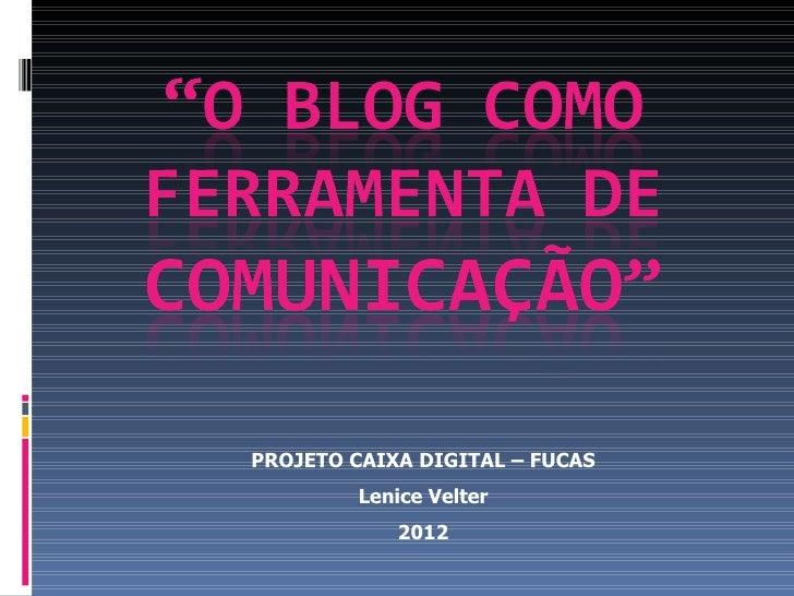 PROJETO CAIXA DIGITAL – FUCAS         Lenice Velter            2012