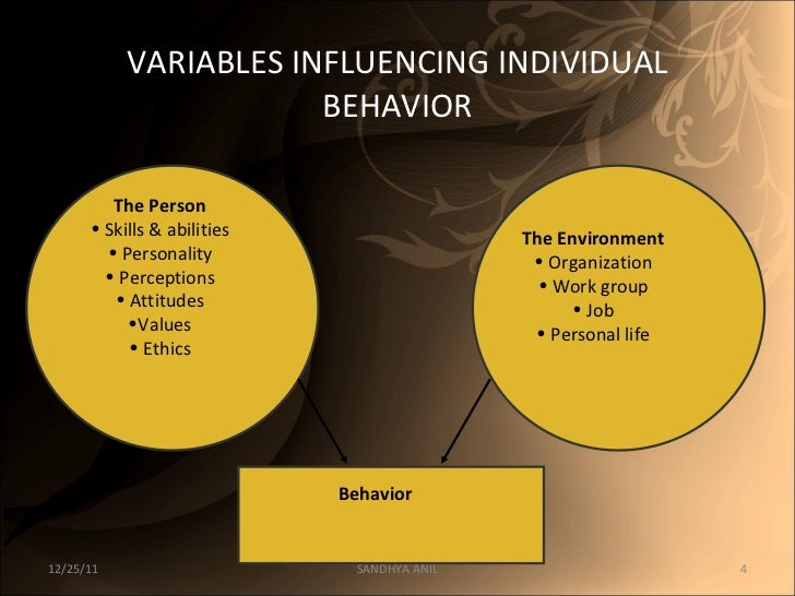 the environmental factors that influence the character of an individual Factors affecting personality development download factors affecting personality (1976) personality is defined as the sum total of individual traits in which a person expresses him or herself differently environmental factors play a vital role in the development of personality.