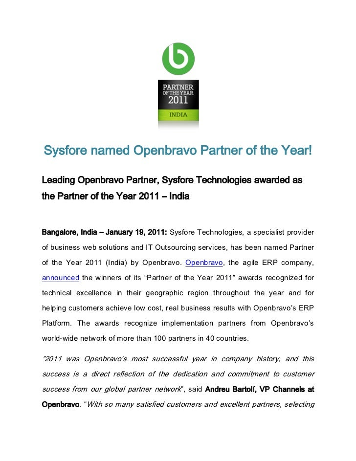 Sysfore named Openbravo Partner of the Year!Leading Openbravo Partner, Sysfore Technologies awarded asthe Partner of the Y...