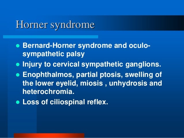 about horners syndrome essay Horner's syndrome authors authors and affiliations klaus poeck ris papers reference manager refworks zotero enw endnote bib.