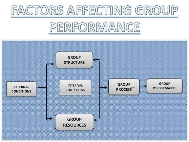 EXTERNAL CONDITIONS GROUP STRUCTURE GROUP RESOURCES GROUP PROCESS GROUP PERFORMANCE INTERNAL CONDITIONS