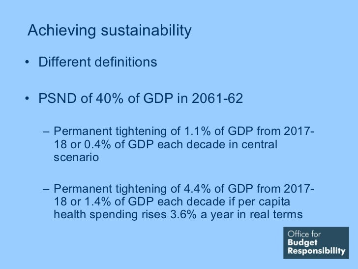 Achieving sustainability• Different definitions• PSND of 40% of GDP in 2061-62   – Permanent tightening of 1.1% of GDP fro...