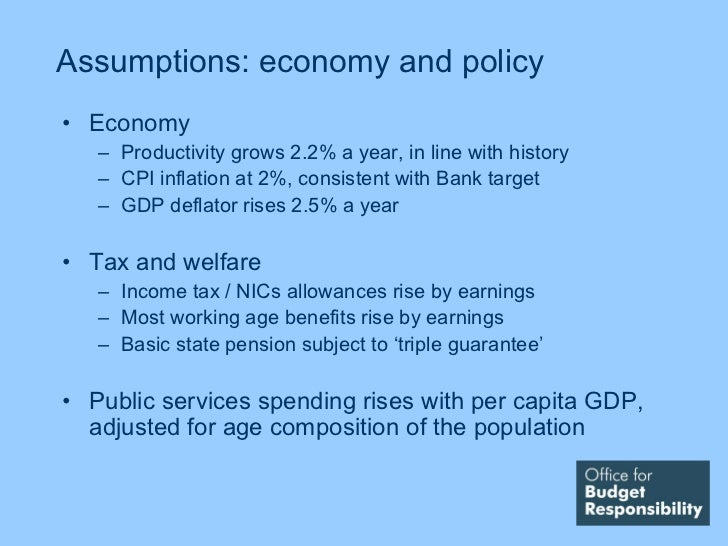 Assumptions: economy and policy• Economy   – Productivity grows 2.2% a year, in line with history   – CPI inflation at 2%,...