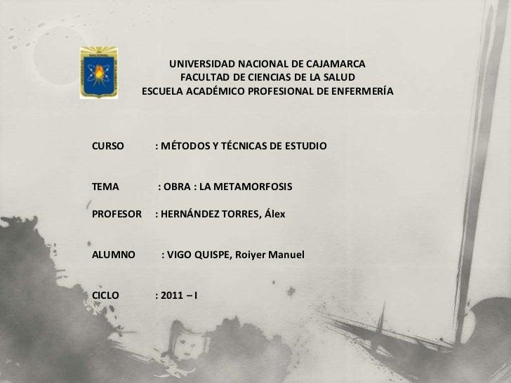 <br /><br />UNIVERSIDAD NACIONAL DE CAJAMARCA<br />FACULTAD DE CIENCIAS DE LA SALUD<br />ESCUELA ACADÉMICO PROFESIONAL D...