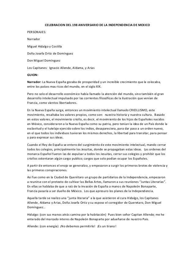 CELEBRACION DEL 198 ANIVERSARIO DE LA INDEPENDENCIA DE MEXICO PERSONAJES: Narrador Miguel Hidalgo y Costilla Doña Josefa O...