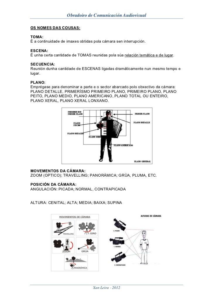 Obradoiro de Comunicación AudiovisualOS NOMES DAS COUSAS:TOMA:É a continuidade de imaxes obtidas pola cámara sen interrupc...