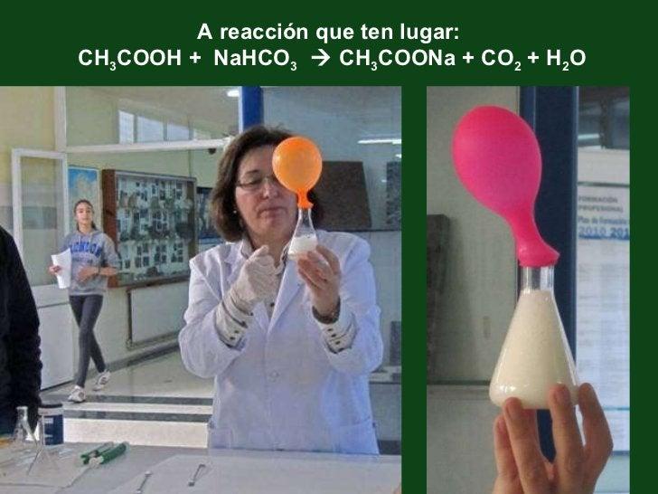 A reacción que ten lugar: CH 3 COOH +  NaHCO 3     CH 3 COONa + CO 2  + H 2 O