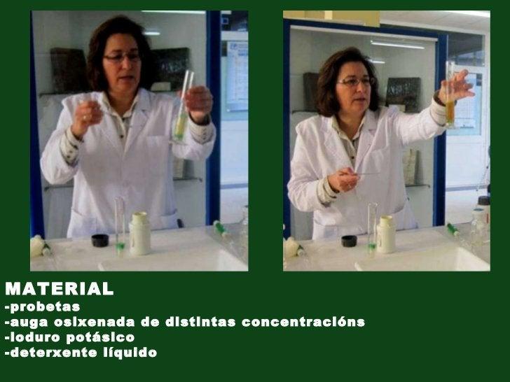 MATERIAL -probetas -auga osixenada de distintas concentracións -ioduro potásico -deterxente líquido