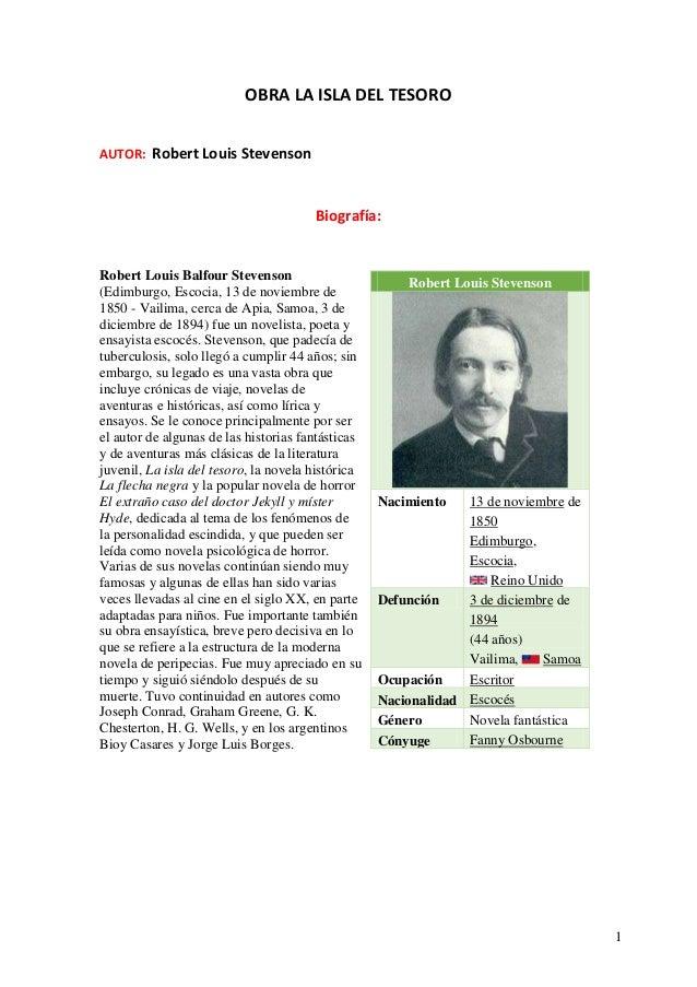 1 OBRA LA ISLA DEL TESORO AUTOR: Robert Louis Stevenson Biografía: Robert Louis Balfour Stevenson (Edimburgo, Escocia, 13 ...