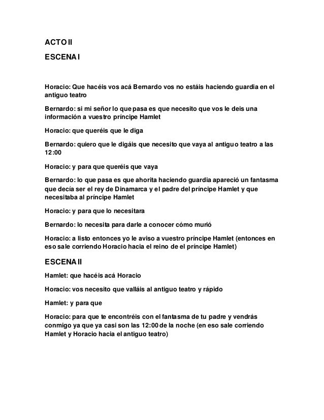 GUION TEATRAL DE LA OBRA LITERARIA DE HAMLET